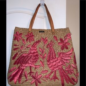 Kate Spade Straw Tote with Embroidered Peacocks